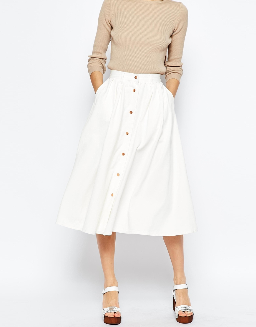 39656ae83 ASOS Denim High Waisted Button Through Midi Skirt In White in White ...