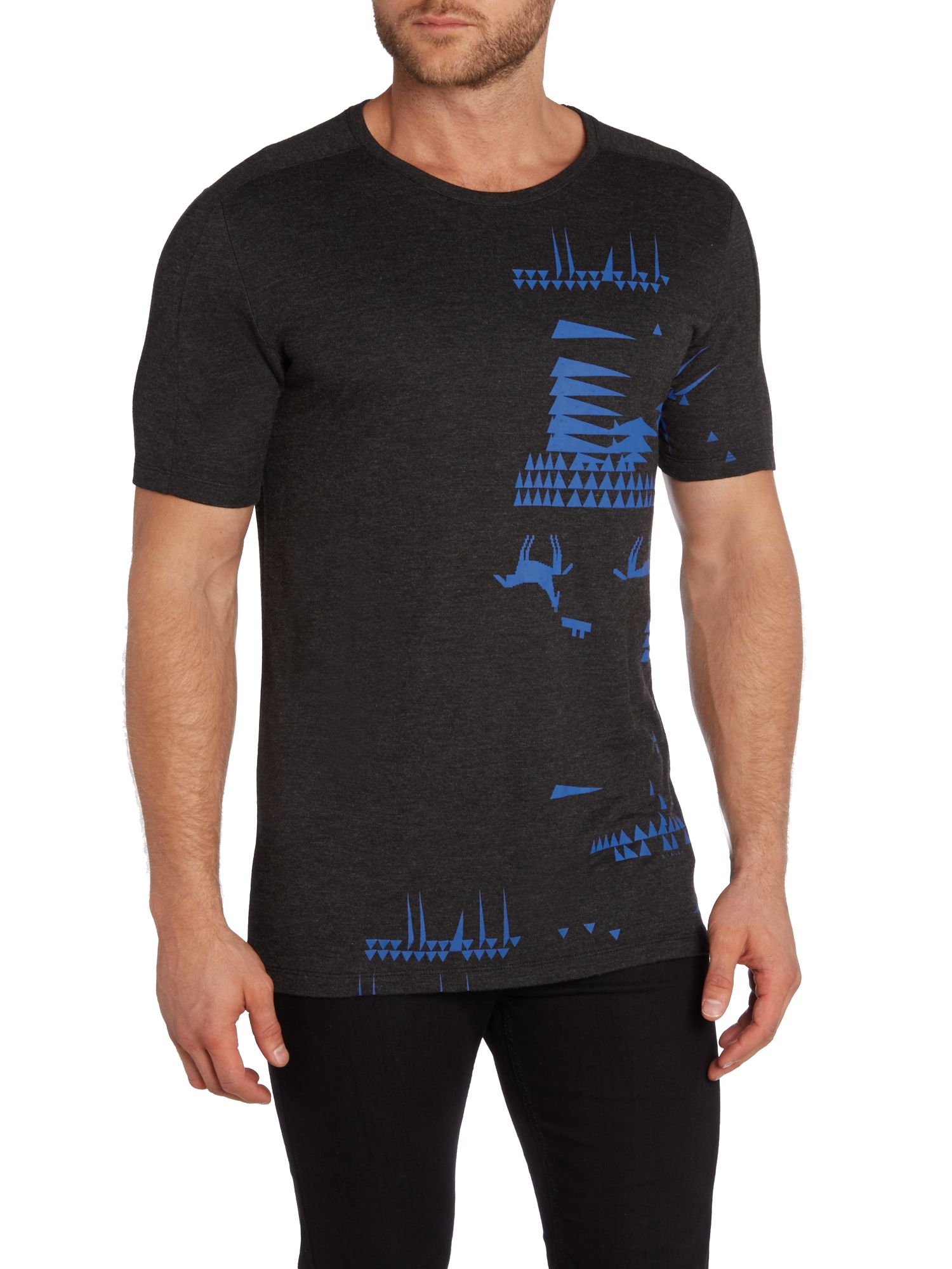 sisley graphic crew neck regular fit t shirt in blue