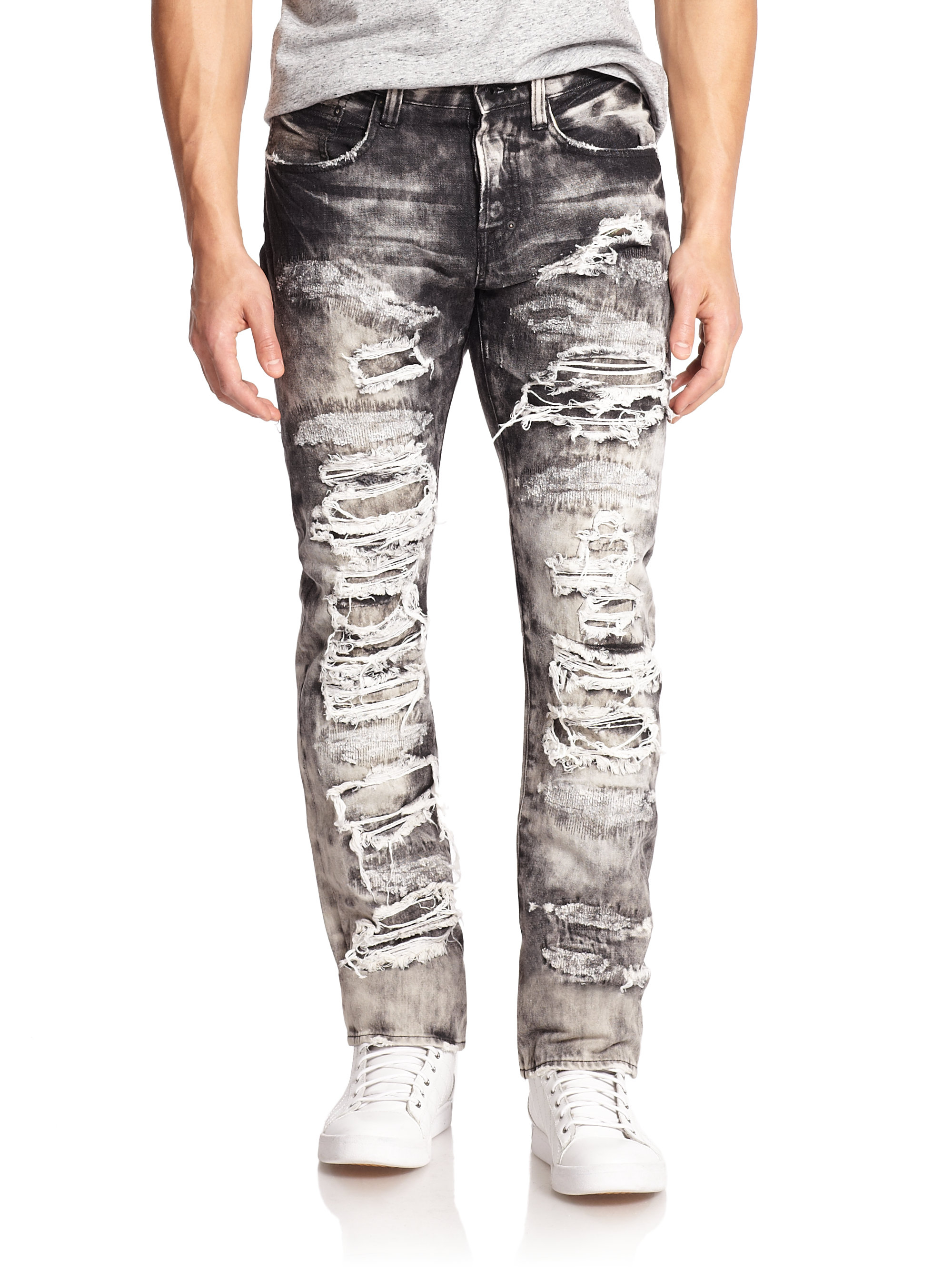 Prps Dalia Destroyed & Distressed Denim Jeans in Black for Men | Lyst