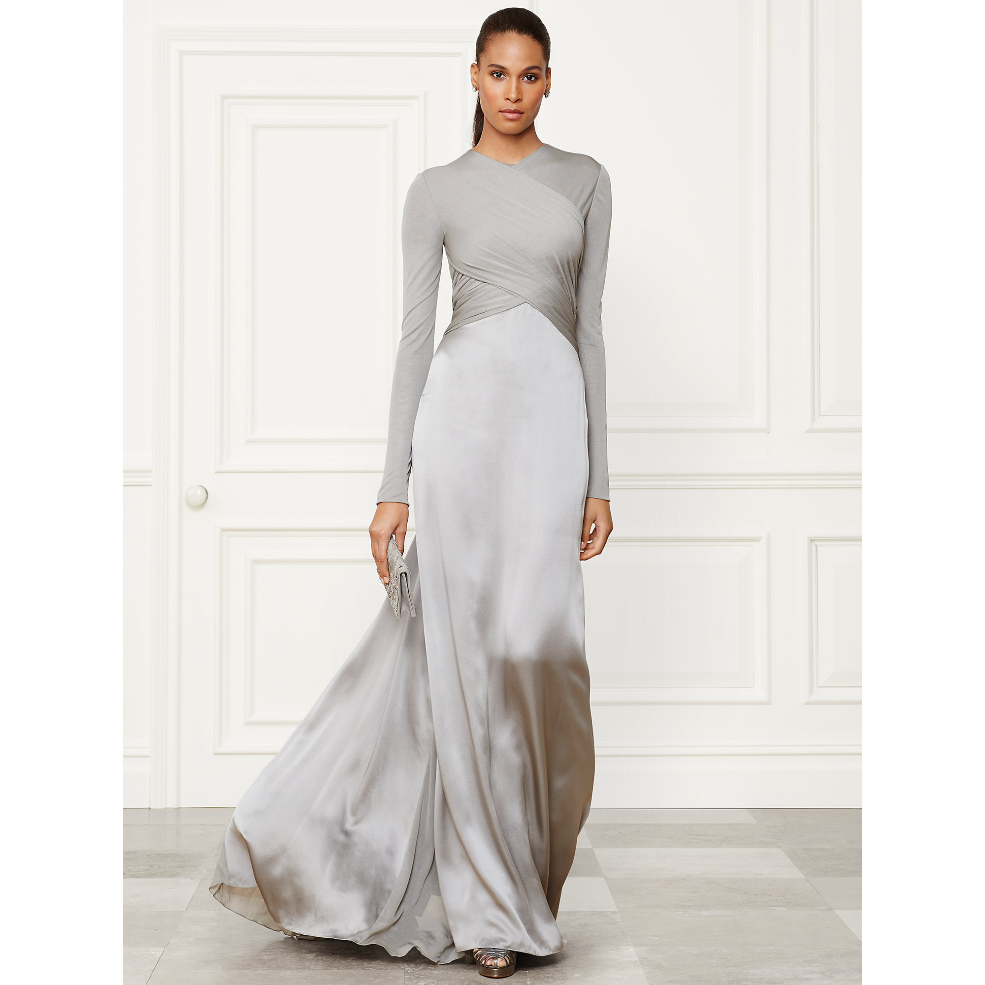 Lyst - Ralph Lauren Collection Fiona Evening Gown in Gray