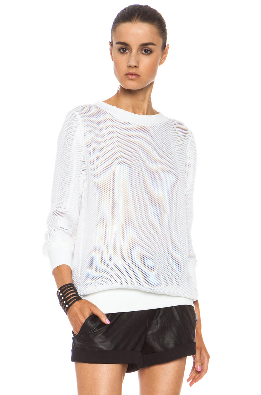 Helmut lang space knit sweatshirt in white optic white - Sweatshirt kleid lang ...