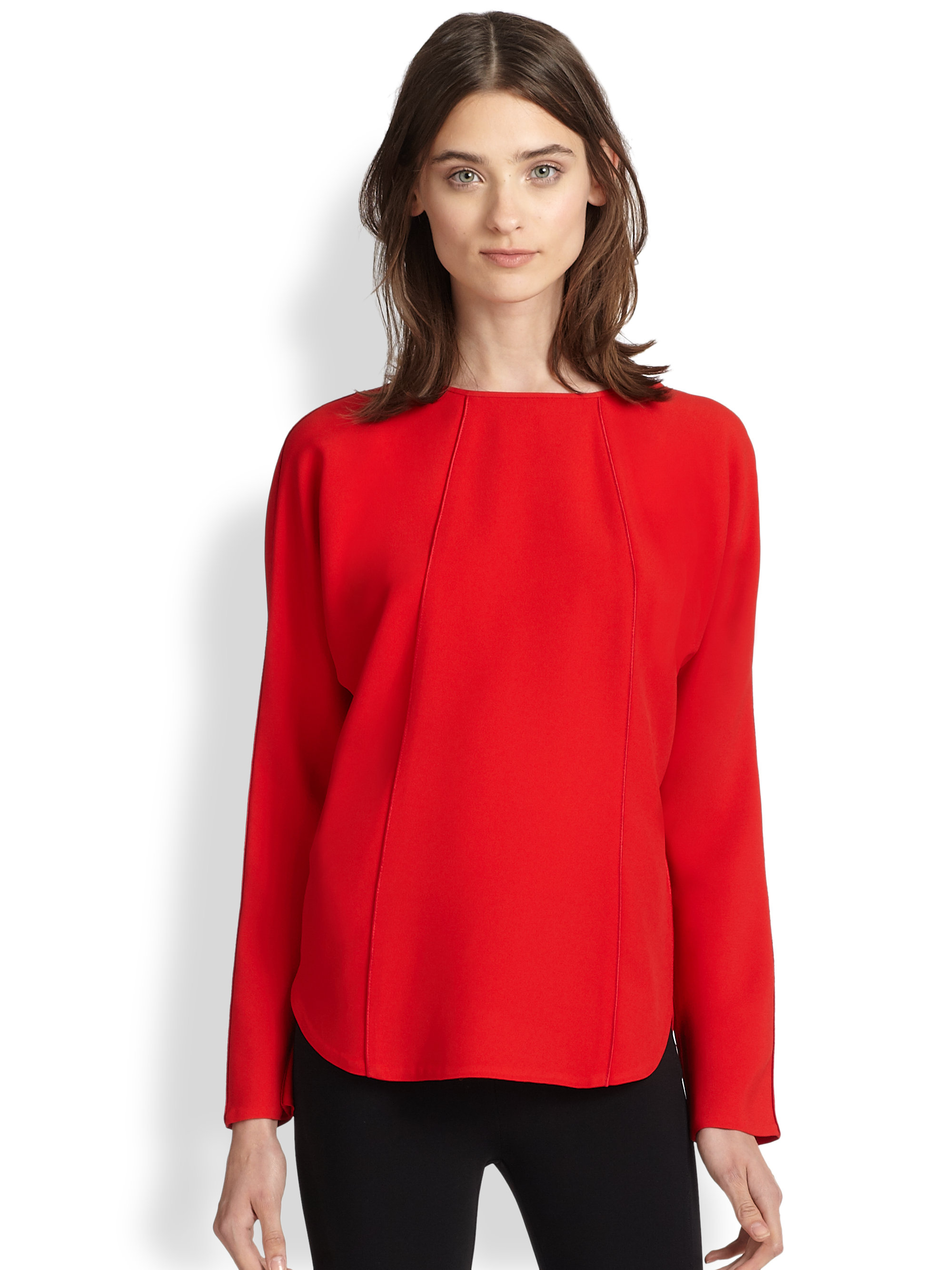 ralph lauren rhett seamed blouse in red lyst. Black Bedroom Furniture Sets. Home Design Ideas