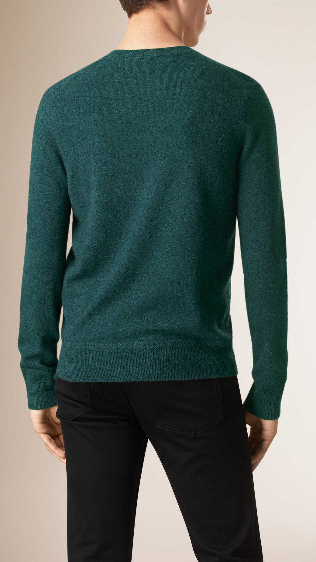 Burberry Crew Neck Cashmere Sweater Dark Forest Green in Green for ...