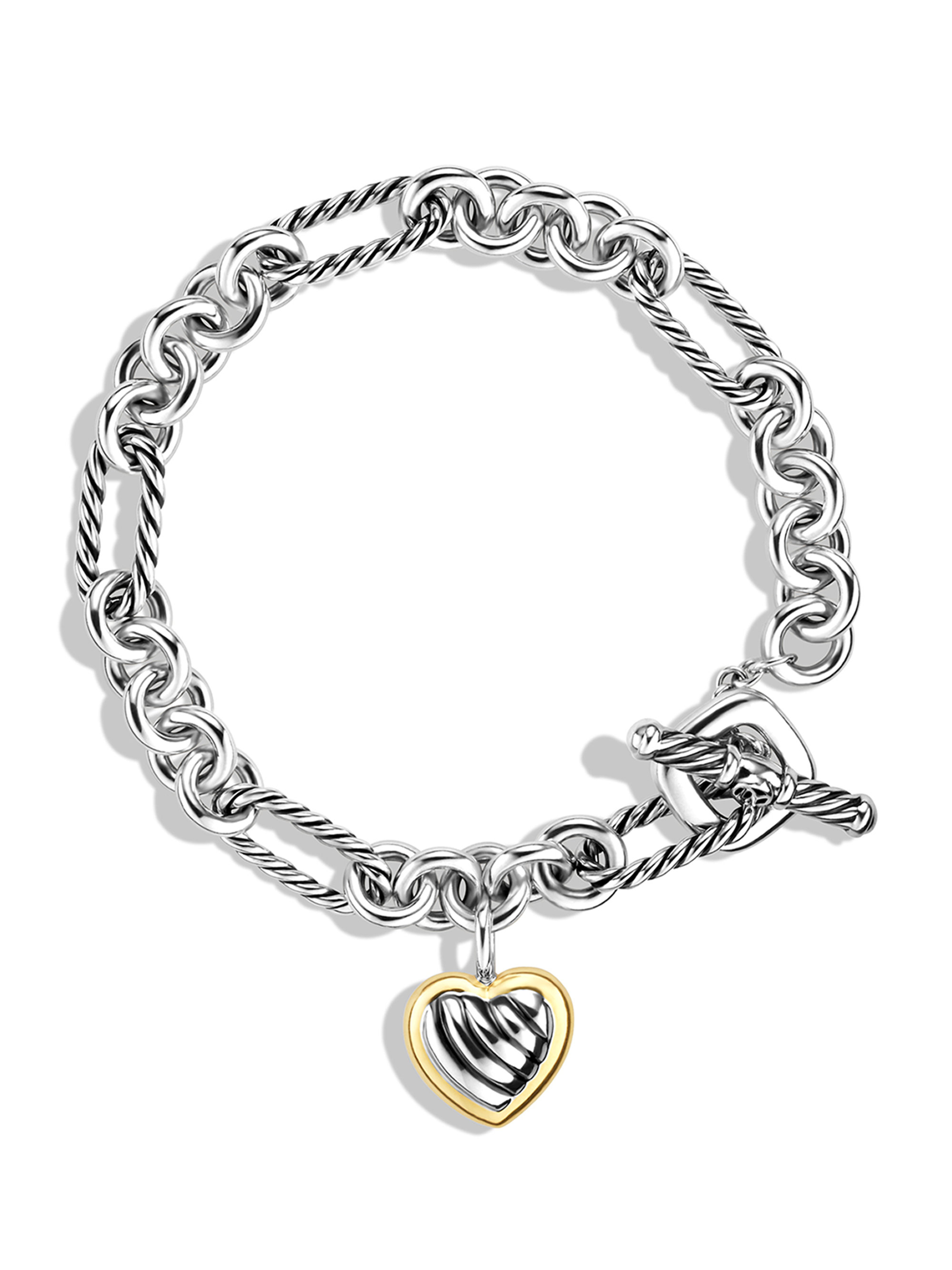 David yurman Cable Heart Charm Bracelet With Gold in Metallic