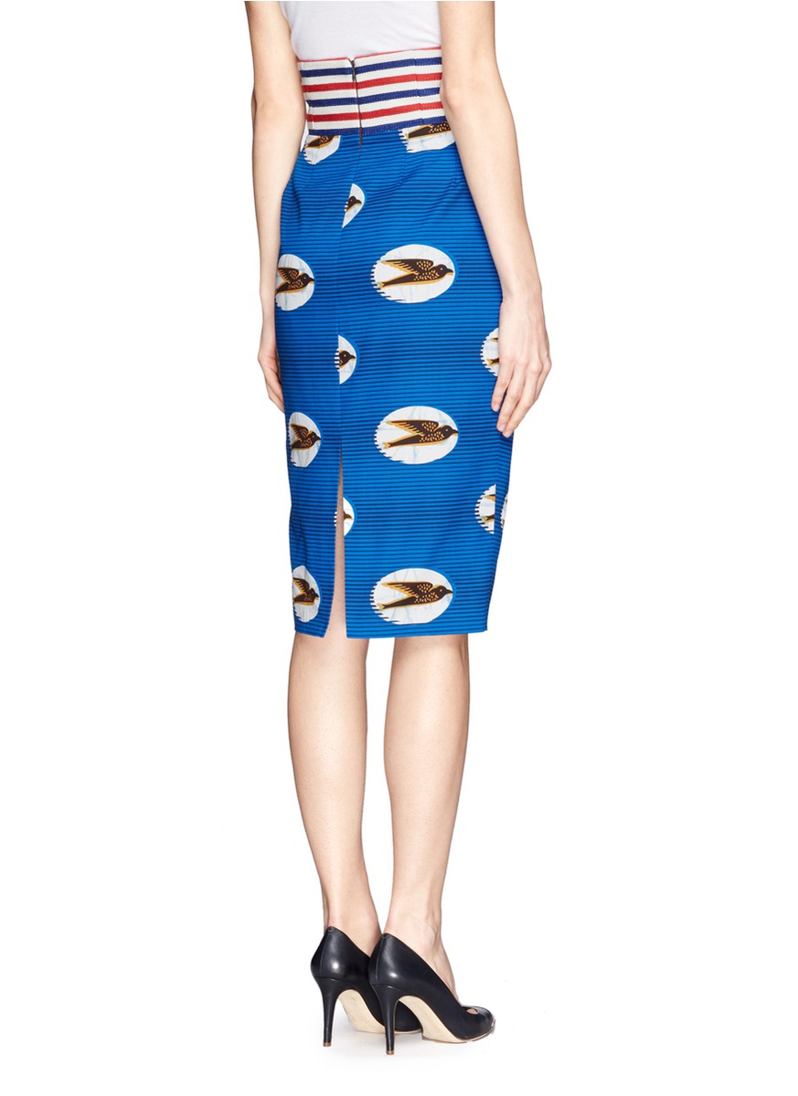 Stella jean Bird Print Pencil Skirt | Lyst