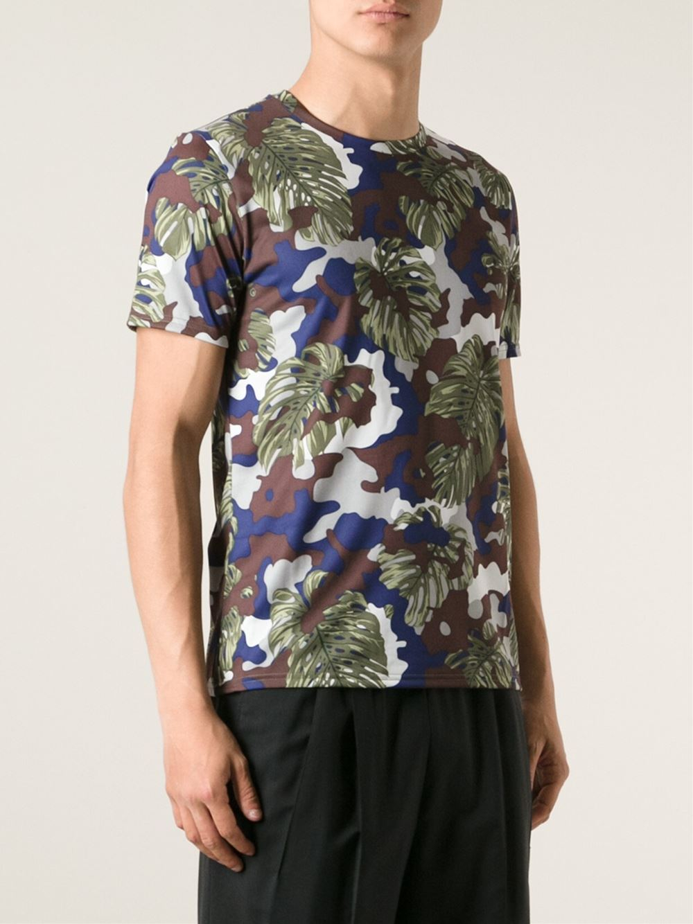 Puma camouflage print t shirt in multicolor for men brown for Camouflage t shirt printing