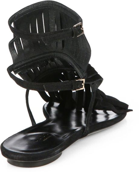 Gucci Becky Suede Fringe Thong Sandals In Black Lyst