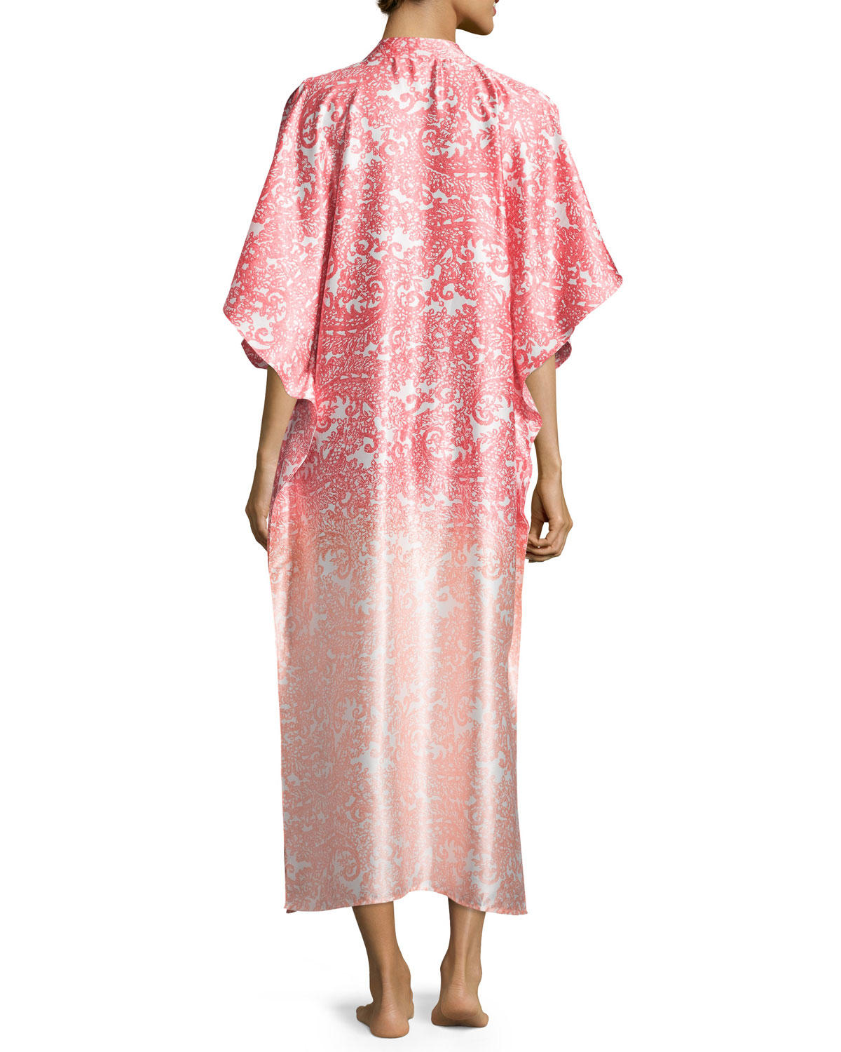 Oscar de la renta regal paisley satin charmeuse zip front for Caftan avec satin de chaise