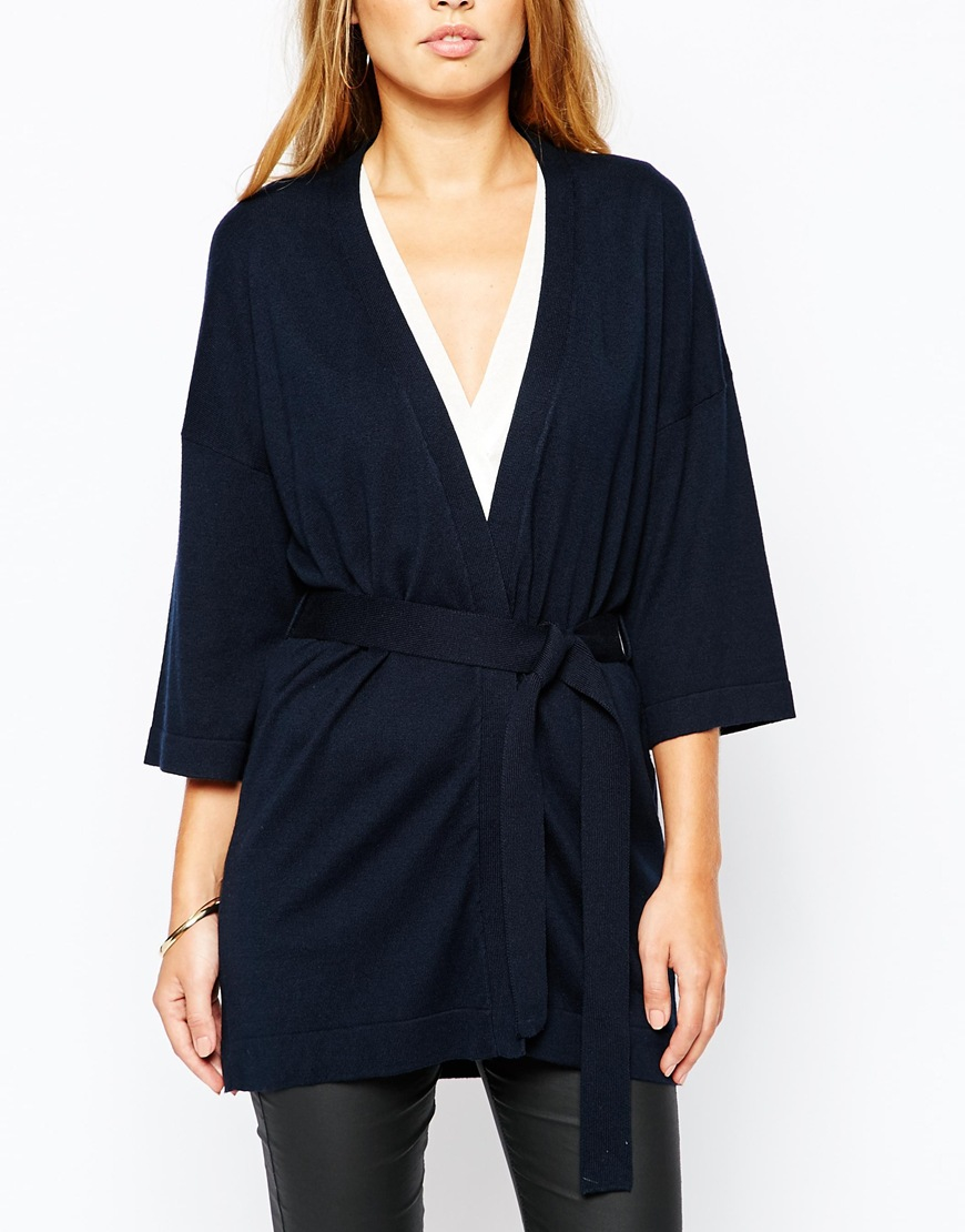 Warehouse Plain Belted Cardigan in Blue | Lyst