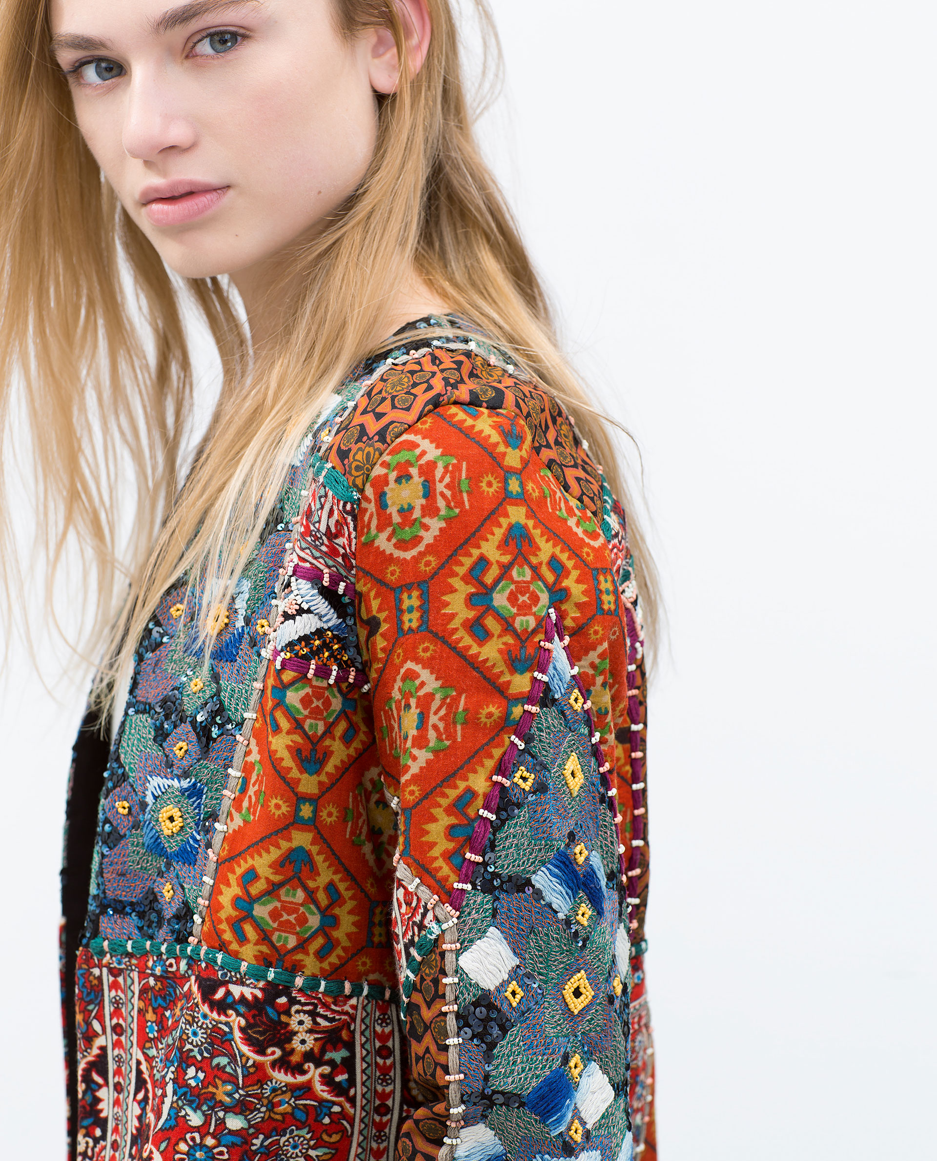 Zara Embroidered Printed Jacket In Blue | Lyst