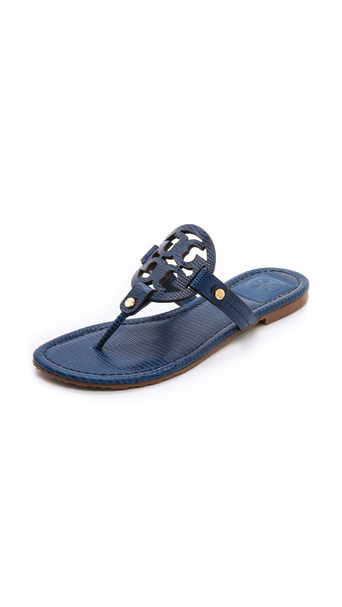 267e6920a77732 Lyst - Tory Burch Miller Tejus Print Sandals Newport Navy in Blue