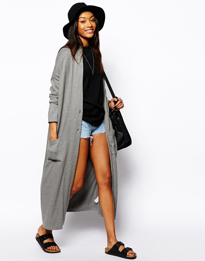 Asos Longline Oversized Cardigan in Gray | Lyst