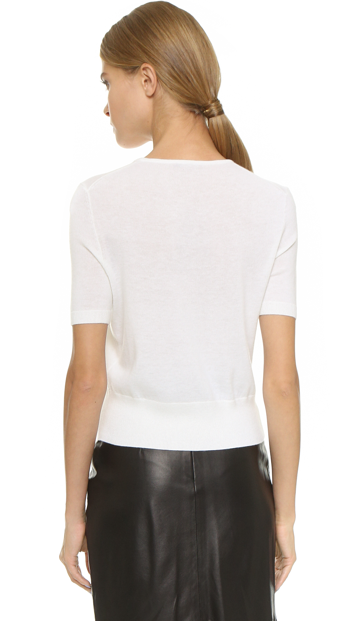 Tamara mellon Short Sleeve Cashmere Sweater - Cream in Natural | Lyst