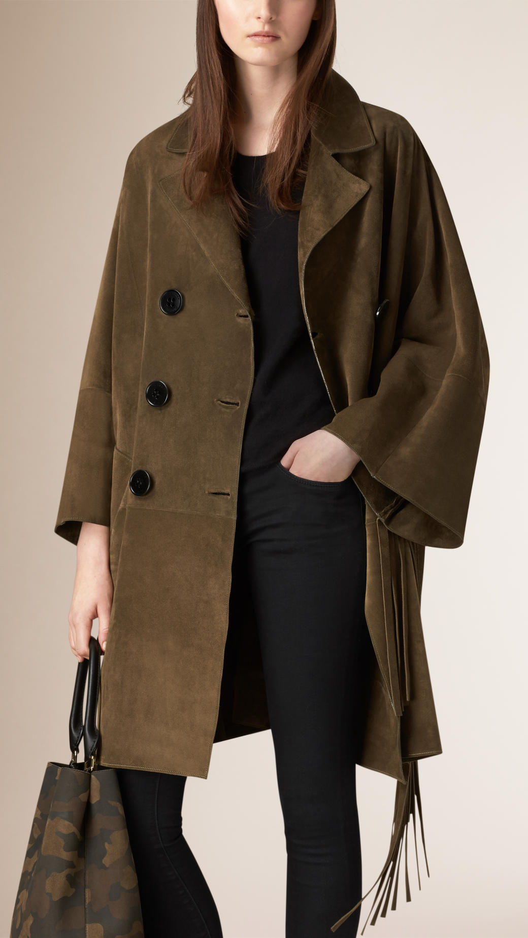 Lyst Burberry Fringed Suede Poncho Coat In Green