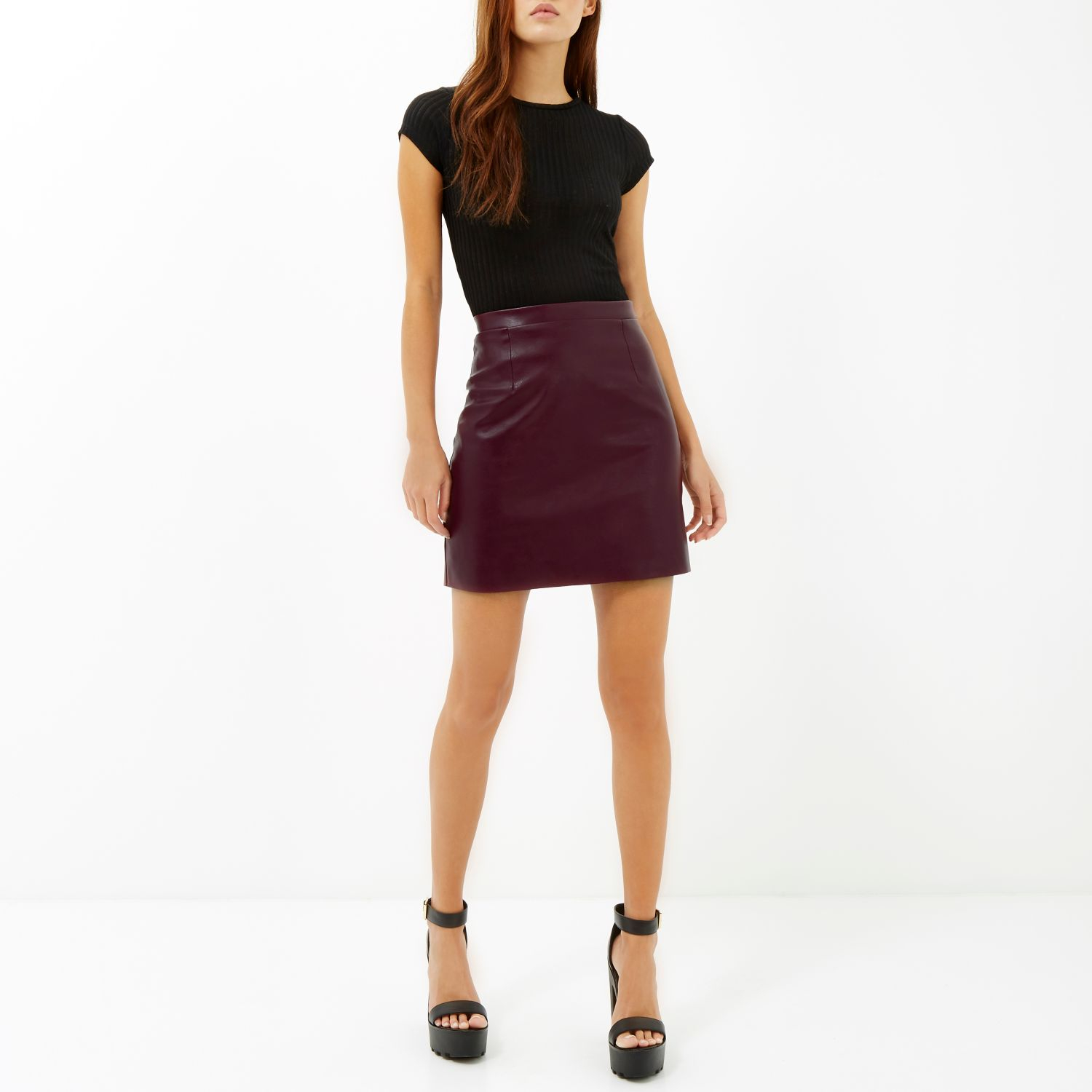 river island burgundy leather look a line skirt in