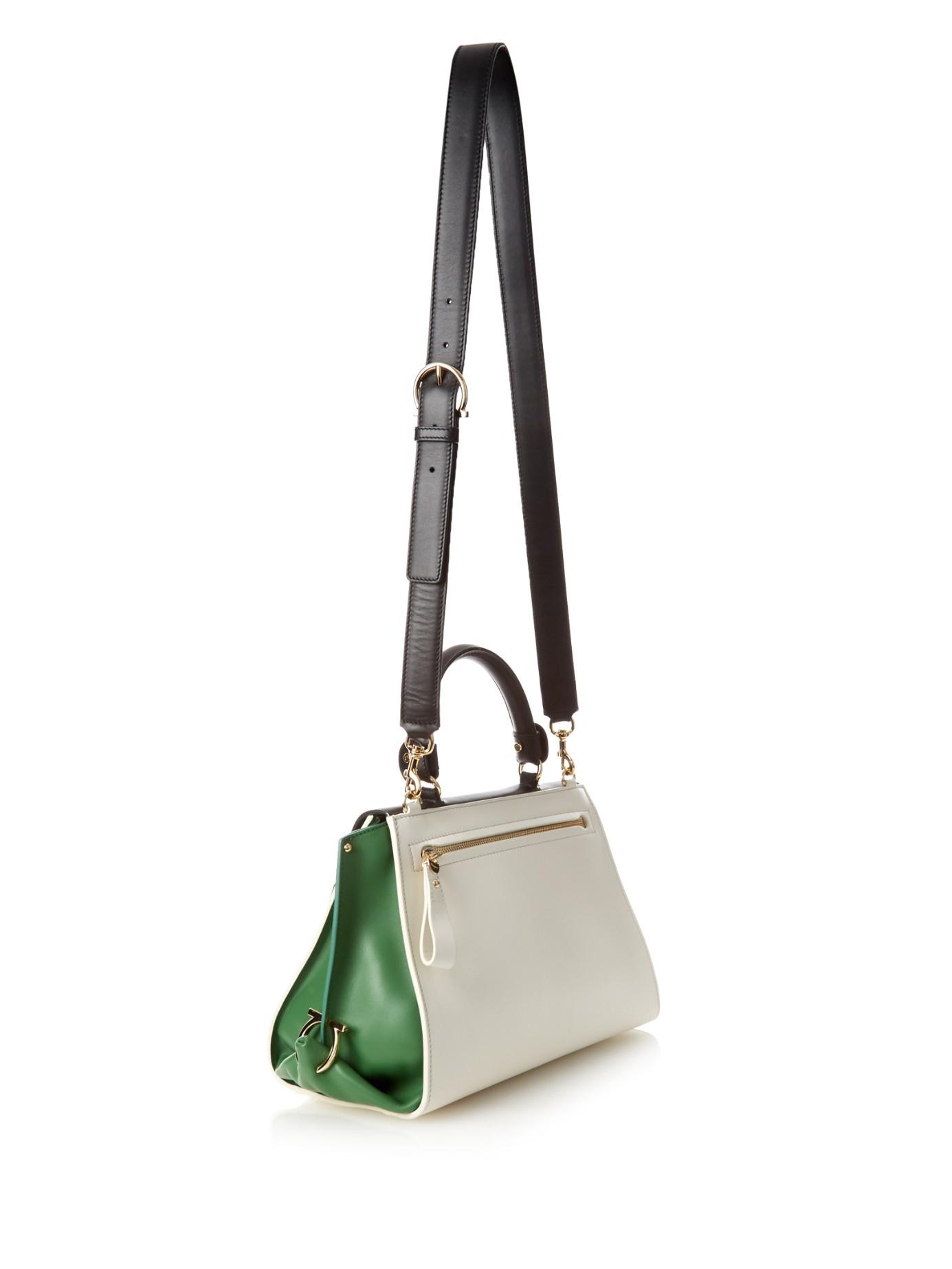 ce9f609ef56d Lyst - Ferragamo Sofia Medium Tri-colour Leather Tote in Green