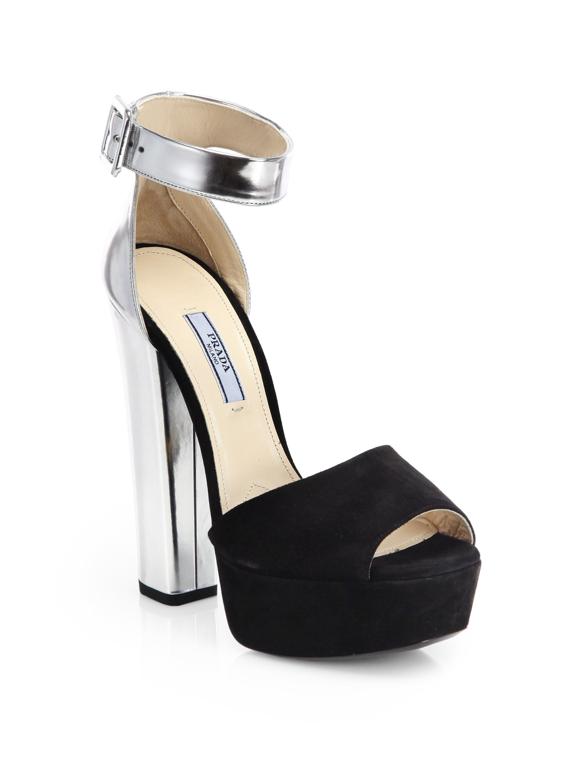 965fc6a90ce Lyst - Prada Suede Metallic Leather Platform Sandals in Black