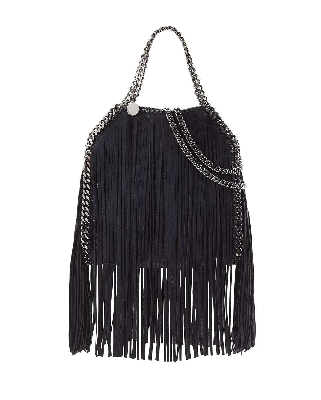 lyst stella mccartney falabella mini fringe tote bag in black. Black Bedroom Furniture Sets. Home Design Ideas