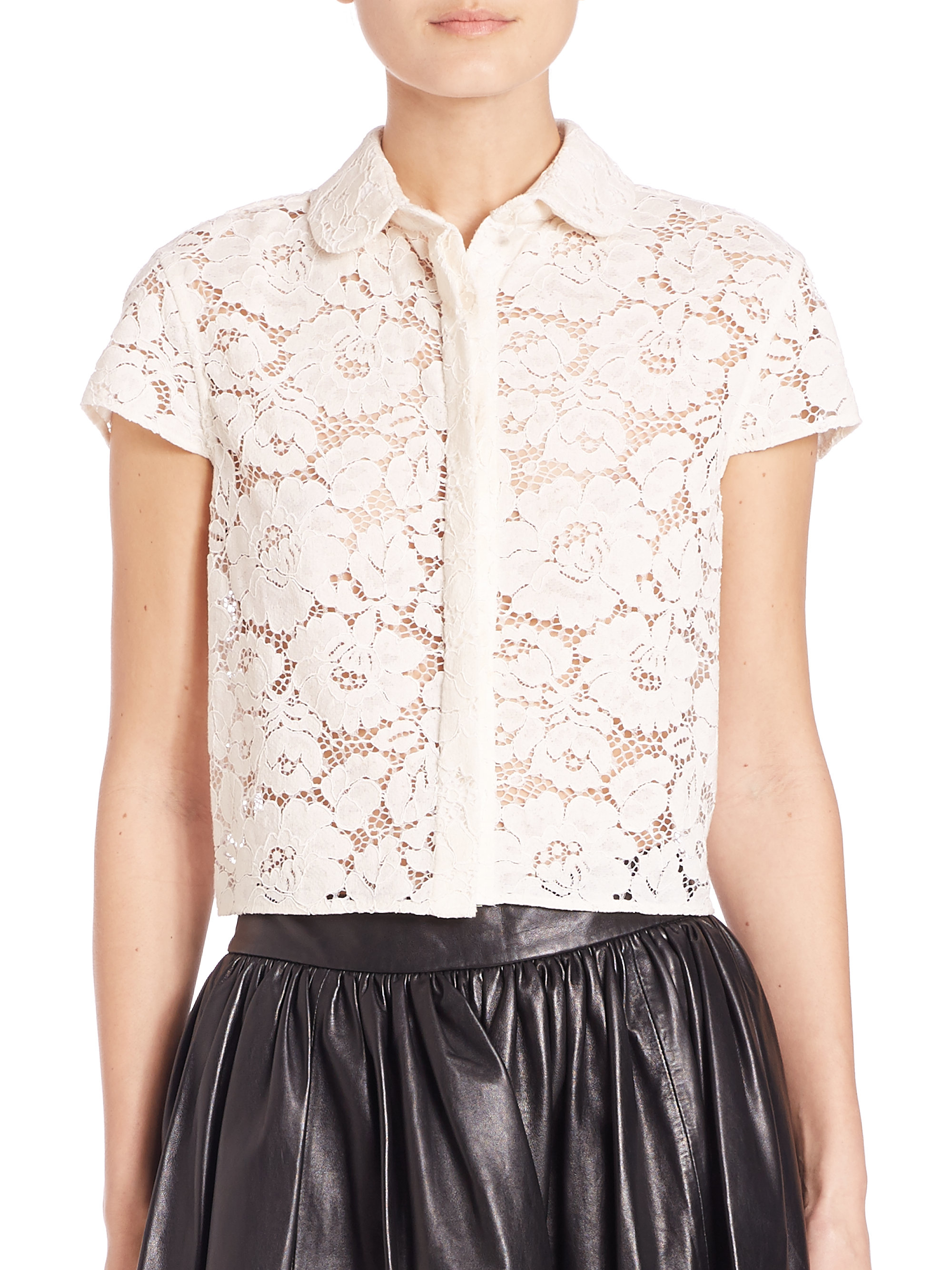 alice olivia loni lace shirt in white lyst