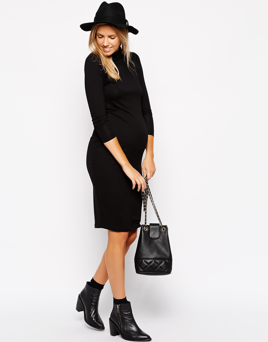 Asos Midi Bodycon Dress With Roll Neck And Long Sleeve in Black | Lyst