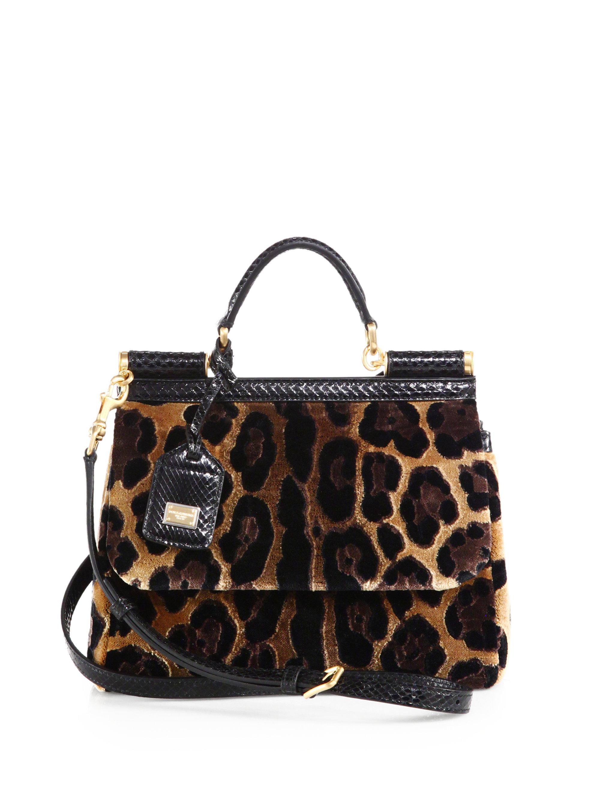 600c361abbd5 Lyst - Dolce   Gabbana Miss Sicily Leopard-Print Velvet Satchel