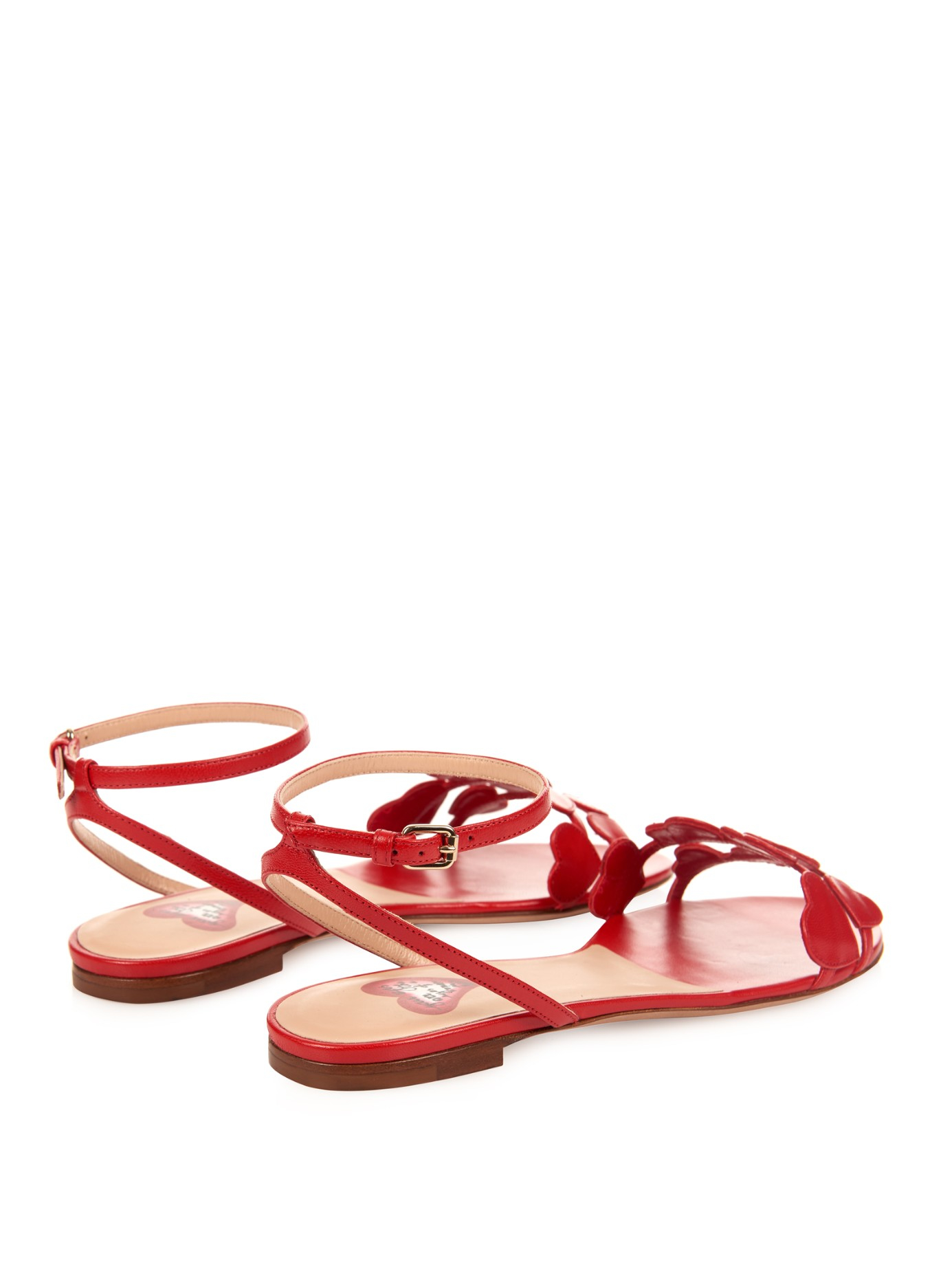 feb77d5e4e4bc1 Lyst - Valentino L Amour Leather Flat Sandals in Red