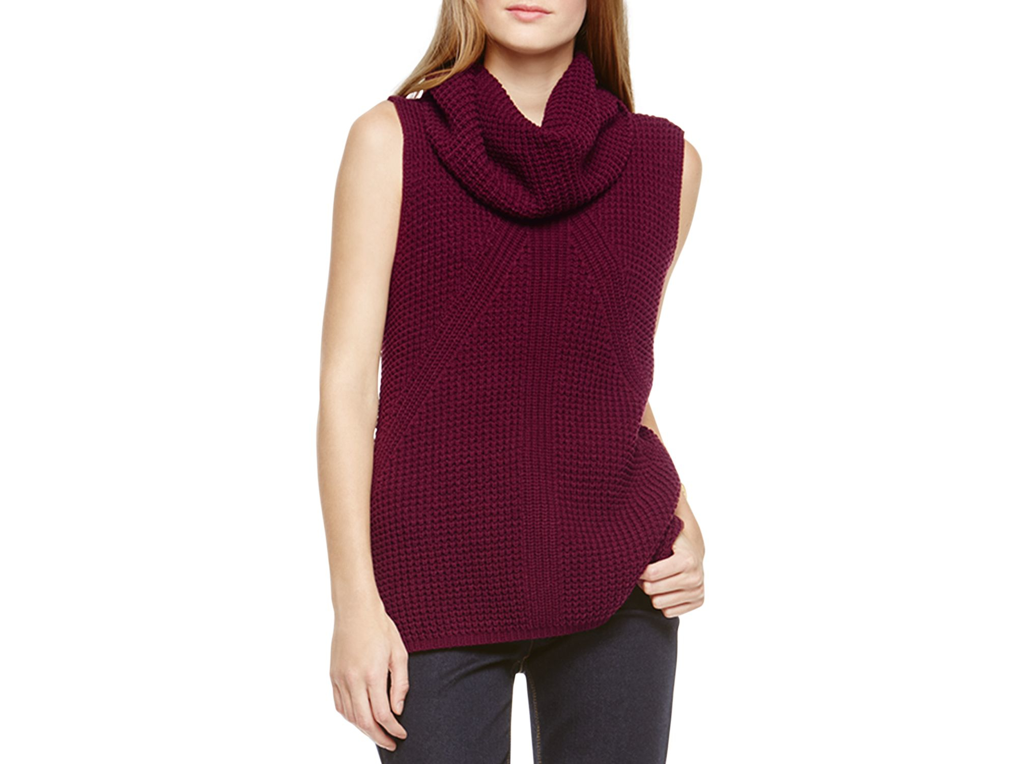 Two by vince camuto Sleeveless Turtleneck Sweater in Purple | Lyst