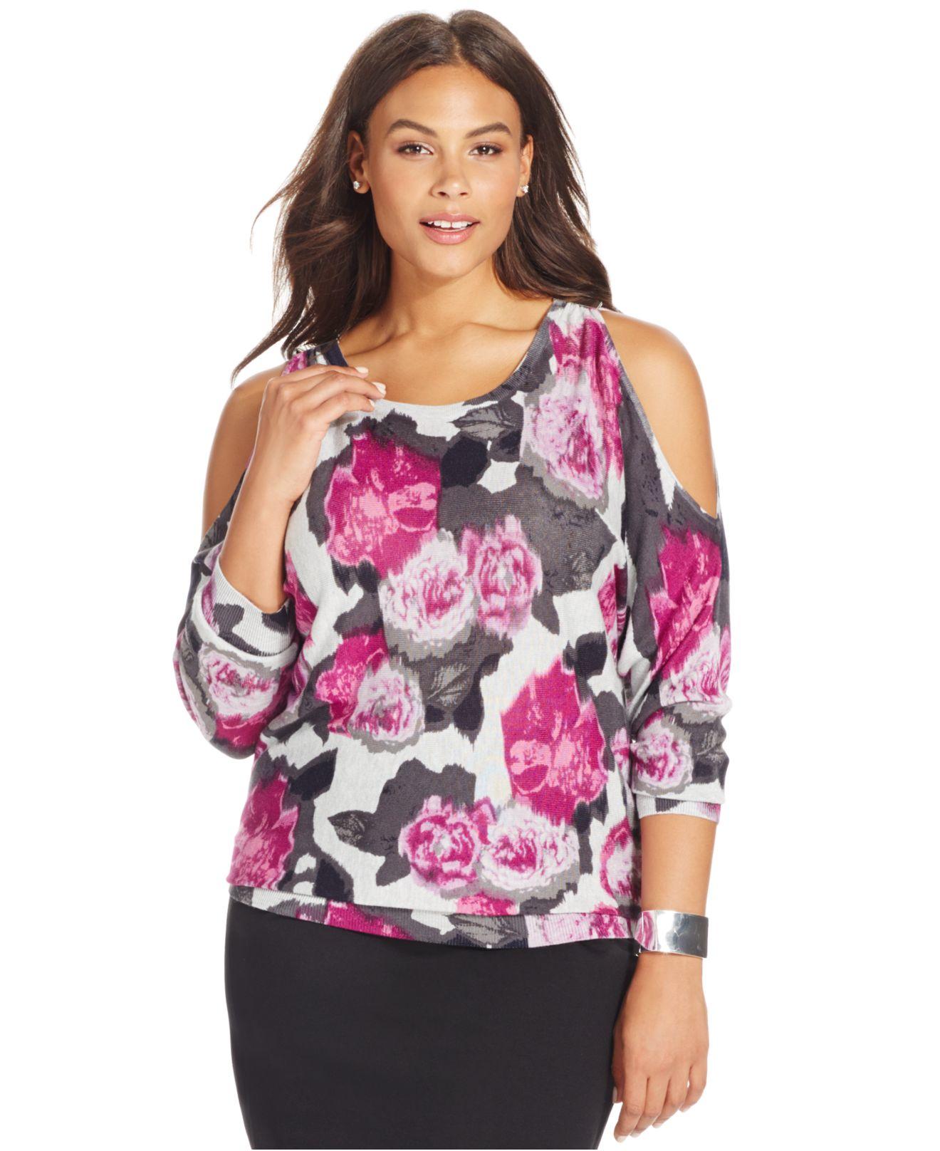 5d27b59610b Lyst - INC International Concepts Plus Size Floral-print Cold ...