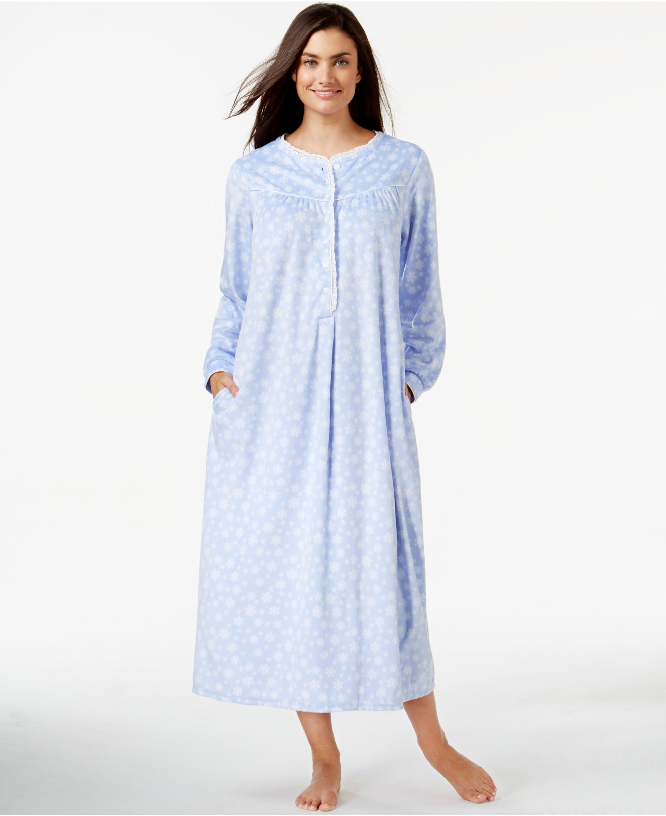 Lyst - Lanz Of Salzburg Long Fleece Nightgown in Blue