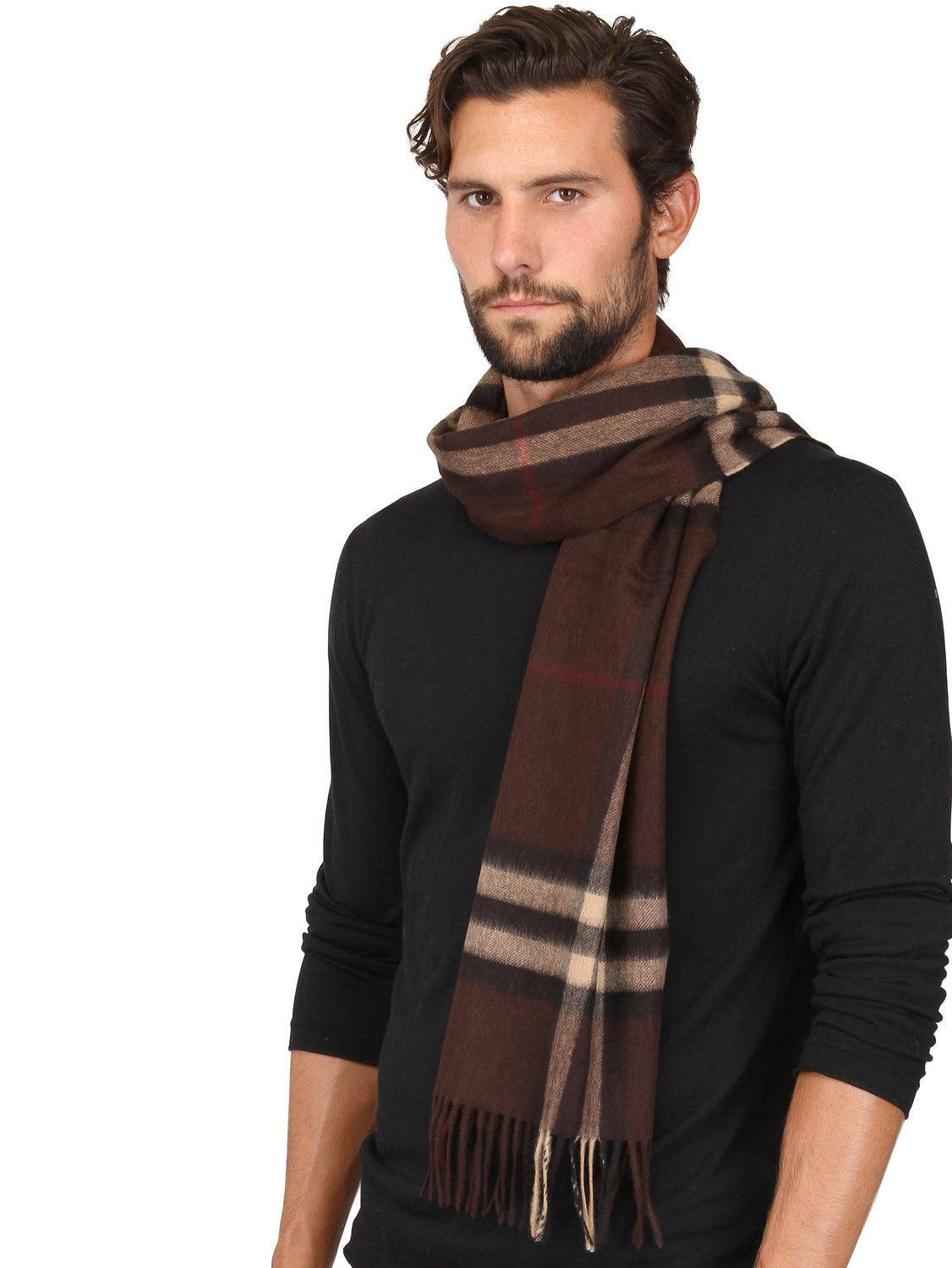 burberry check pattern scarf in brown for