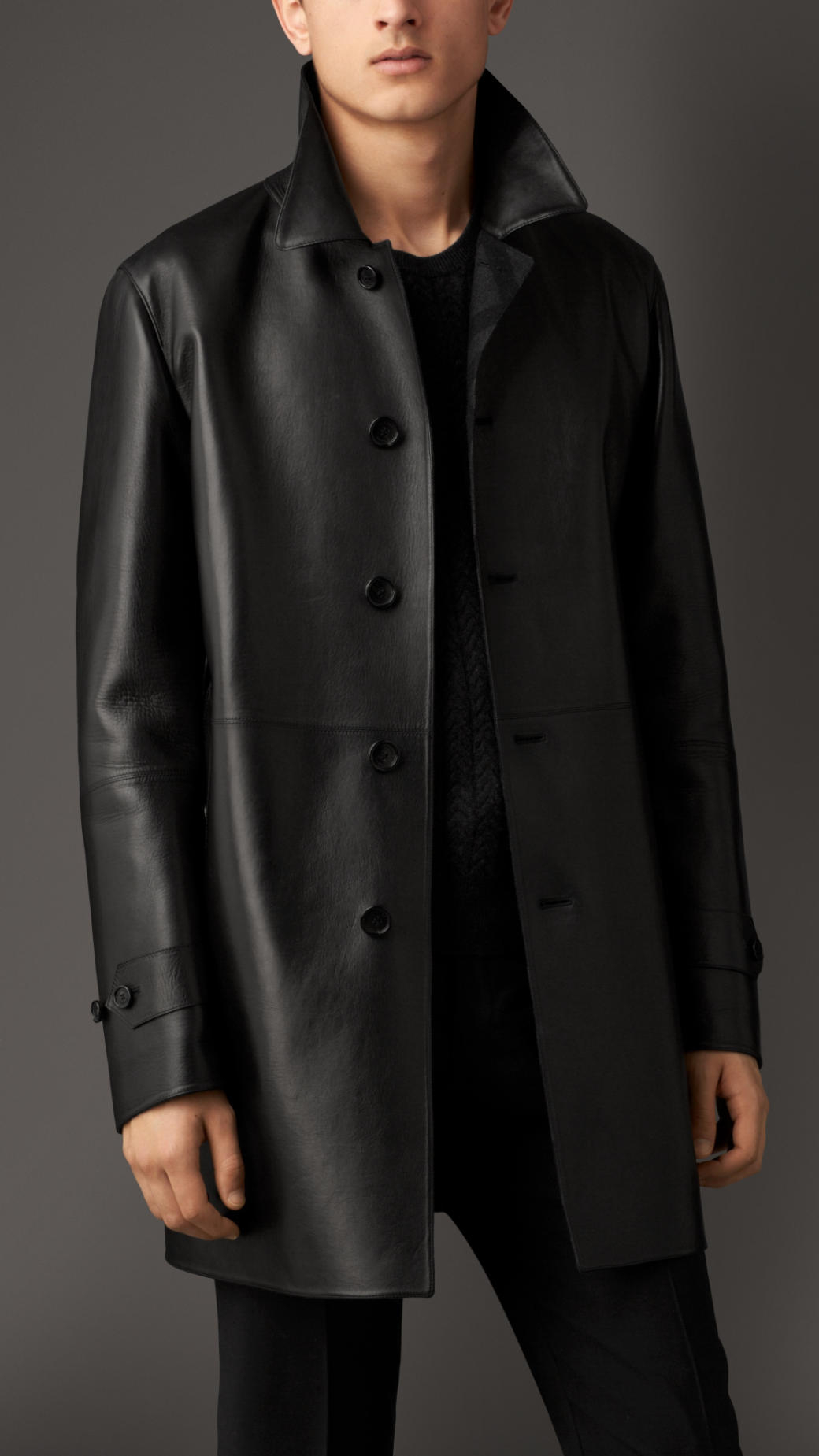 Burberry Cashmere Lined Leather Car Coat in Black for Men | Lyst