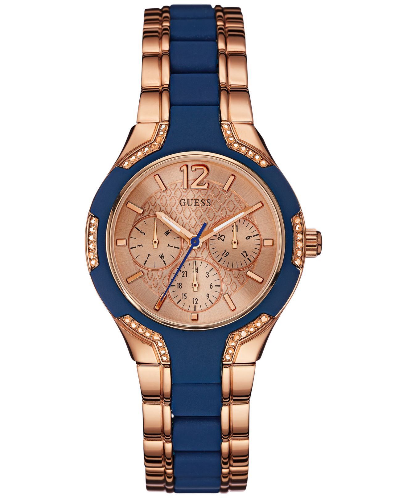 Guess Women's Blue Silicone And Rose Gold-tone Steel ...