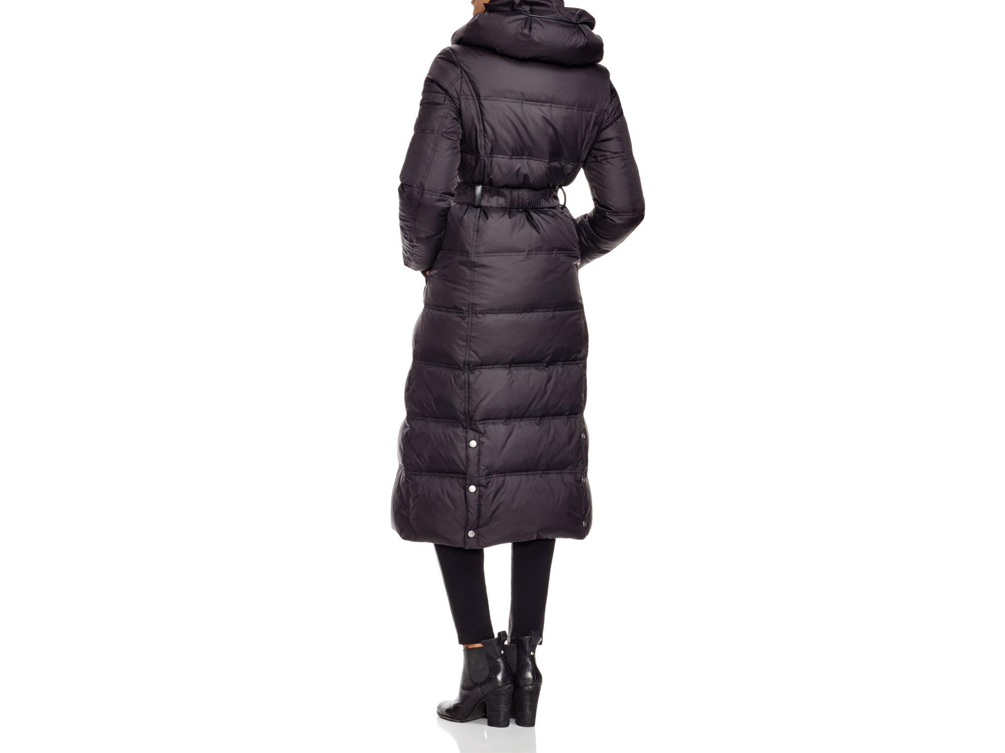 Dkny Pillow Collar Long Down Coat In Black Lyst