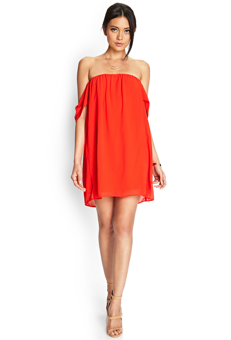 a7337cc92b6 Lyst - Forever 21 Off-The-Shoulder Swing Dress in Red