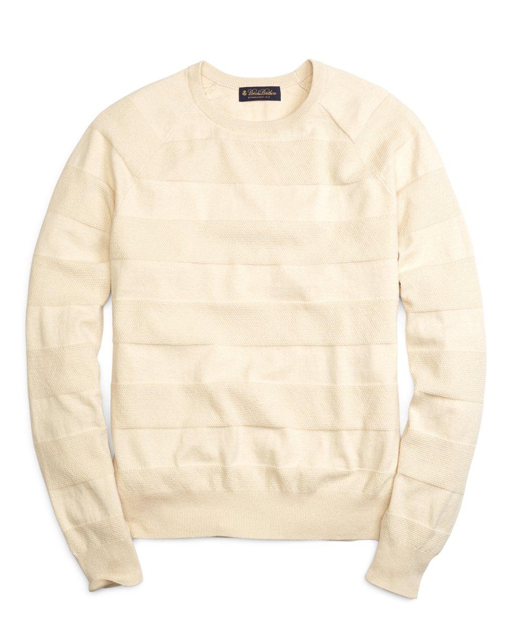 fd1b3ce7715a Lyst - Brooks Brothers Cotton Cashmere Crewneck Tonal Stripe Sweater ...