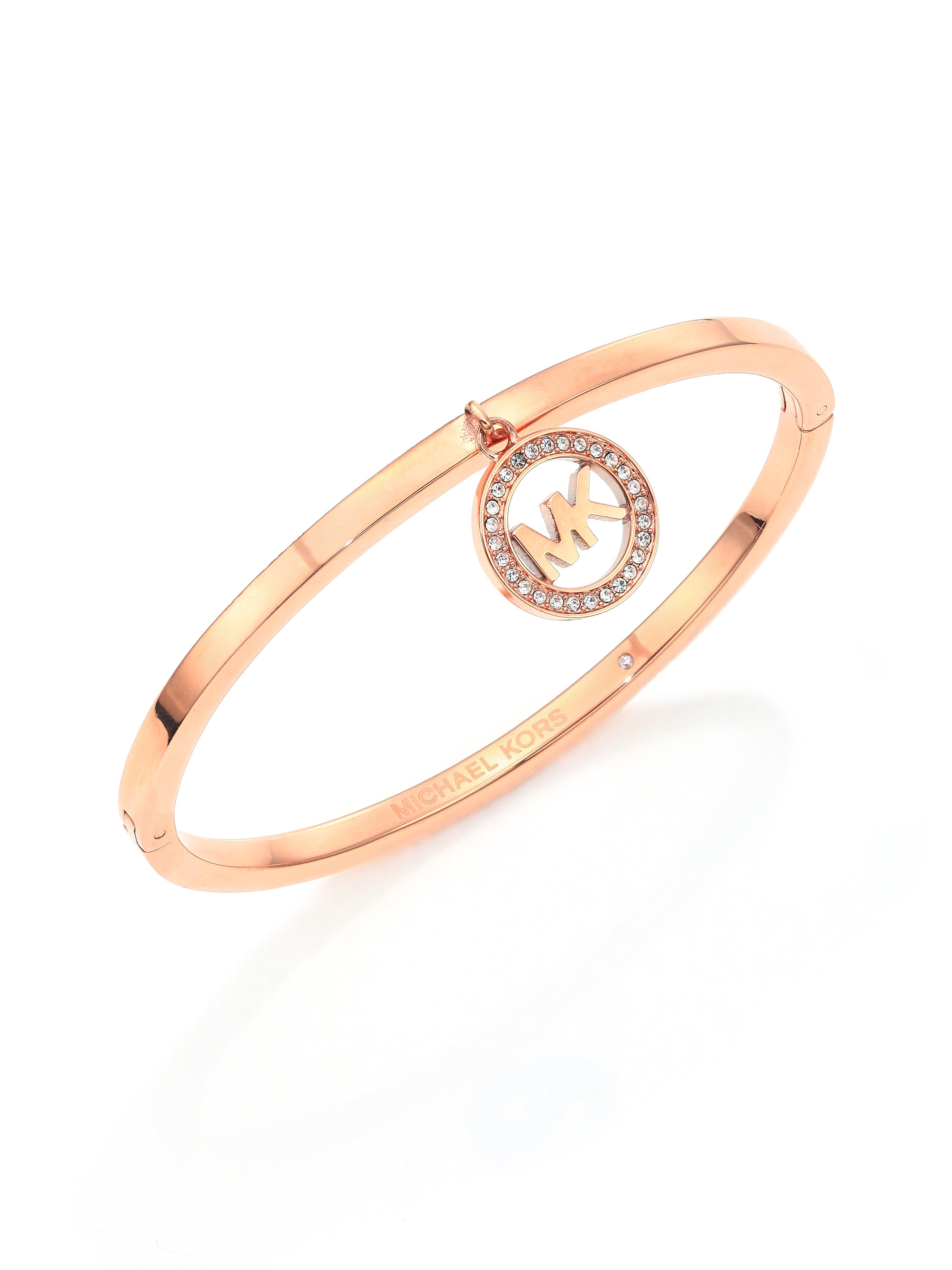 schmuck website bangle braceletrose charm kors gold neu bangles rose logo goldtone michael heart pink heritage bracelet