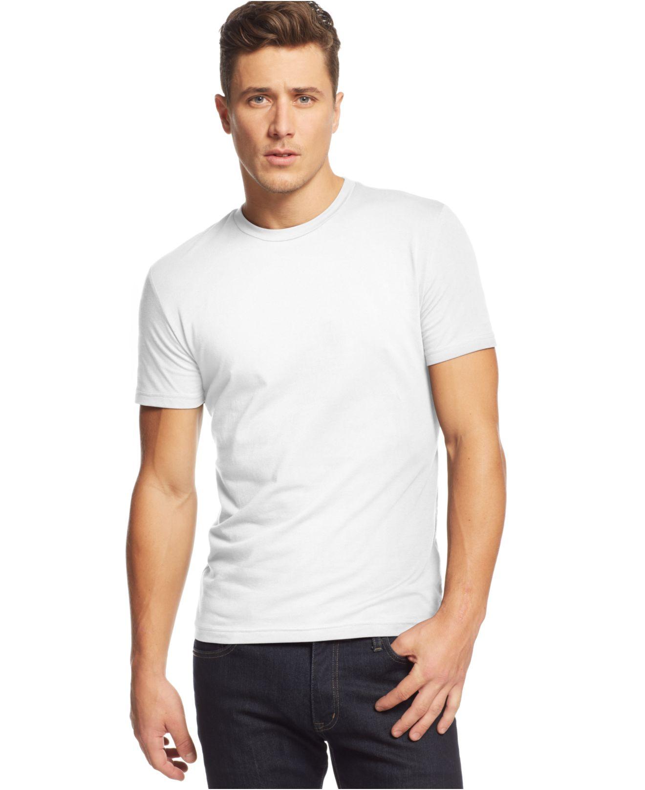 Alfani slim fit crewneck t shirt in white for men lyst for Slim fit white t shirt