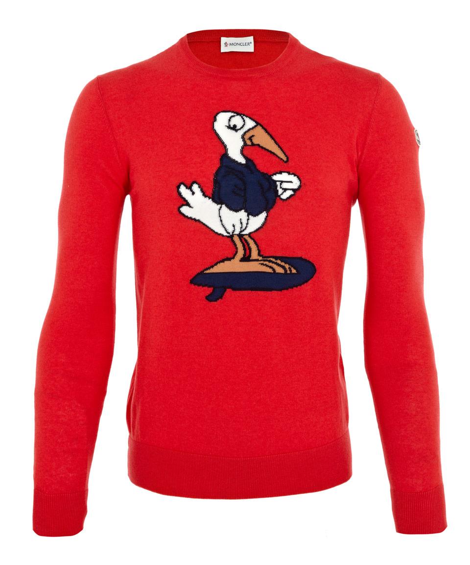 red moncler jumper