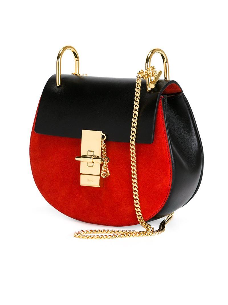 Chloé 'Drew' Shoulder Bag in Red | Lyst