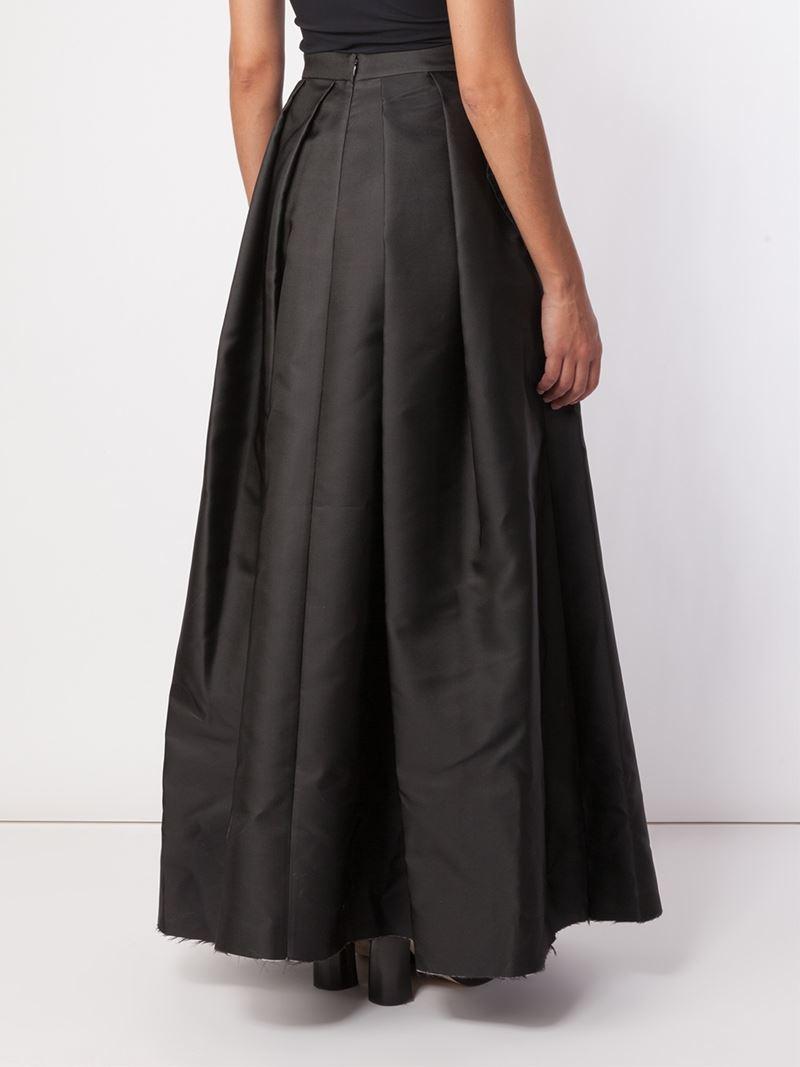 yang li pleated maxi skirt in black lyst