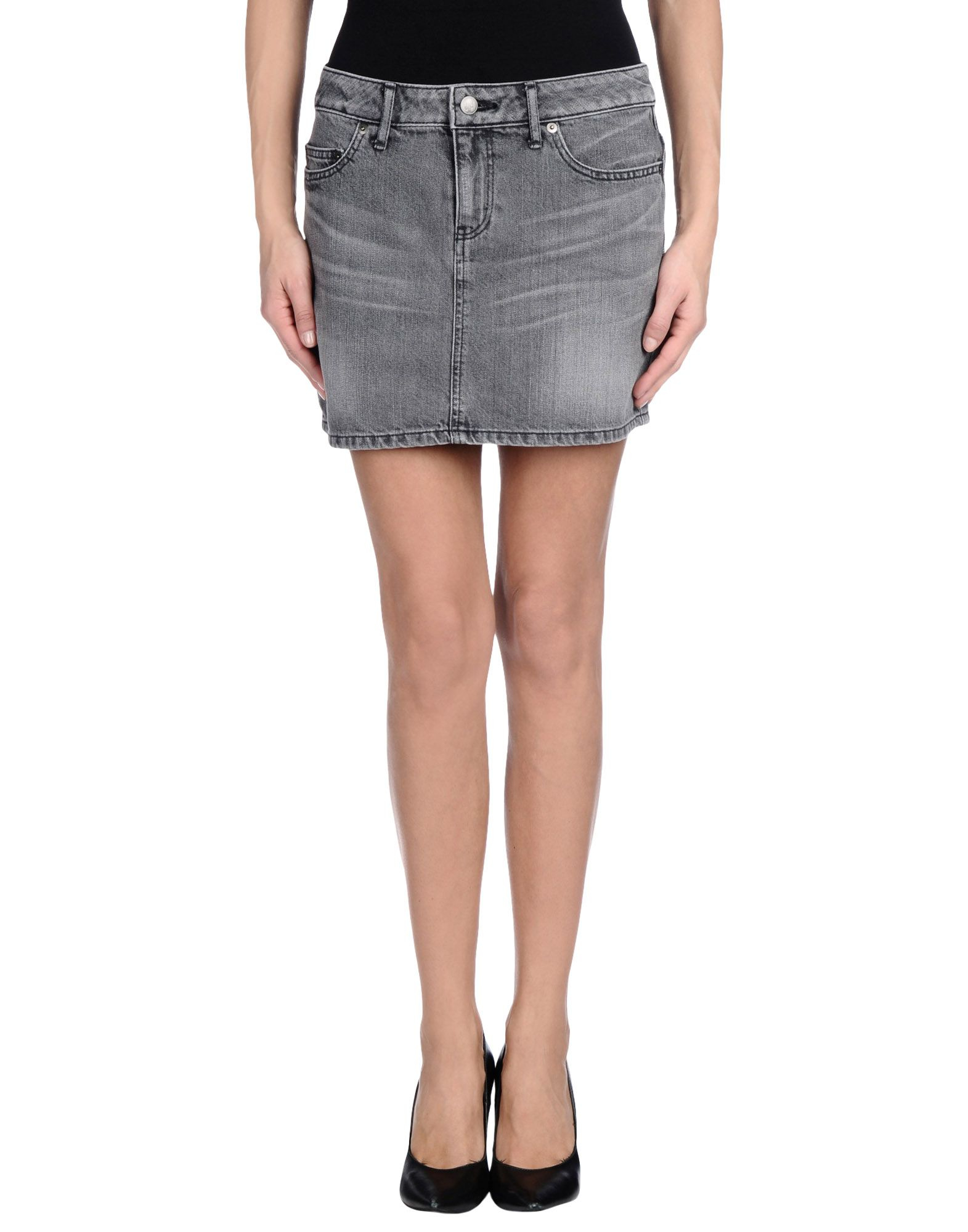 lucien pellat finet denim skirt in gray lyst