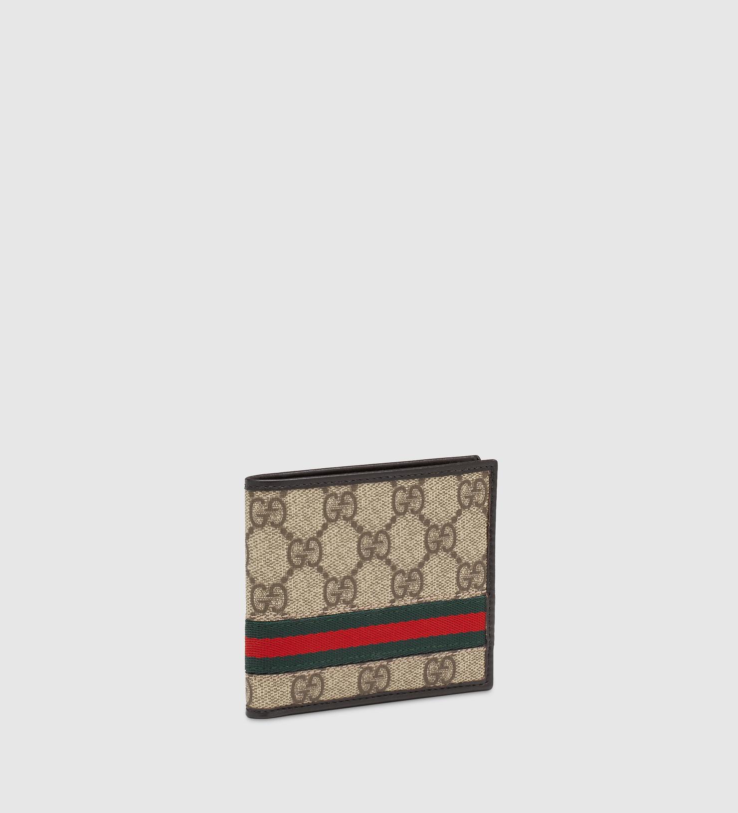 7fe201b33d9 Lyst Gucci Gg Supreme Canvas Bi Fold Wallet In Natural For Men