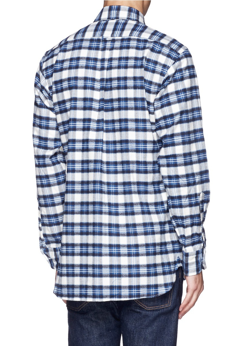 lyst ovadia and sons cotton flannel plaid shirt in blue. Black Bedroom Furniture Sets. Home Design Ideas