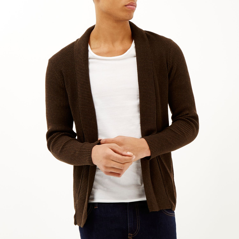 River island Dark Brown Open Front Cardigan in Brown for Men | Lyst