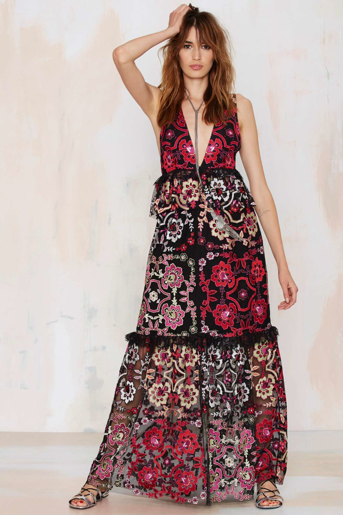 Lyst Nasty Gal Lola Embroidered Maxi Dress In Red