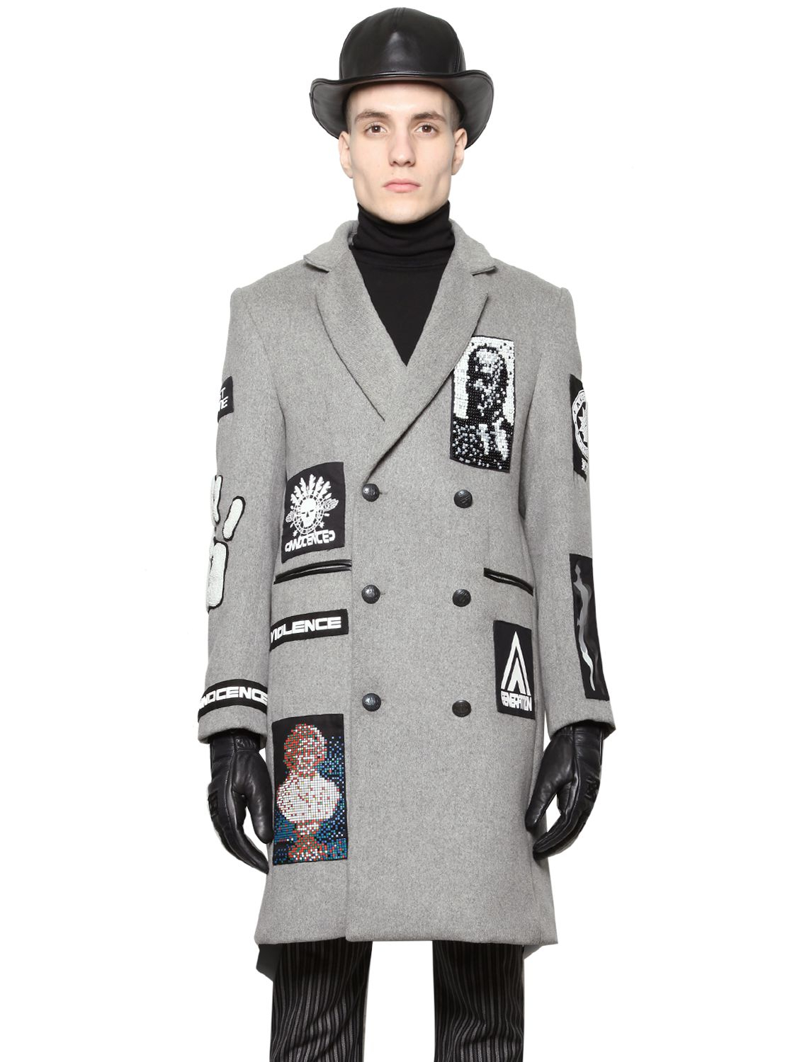 Ktz Patched Heavy Wool Coat in Gray for Men | Lyst