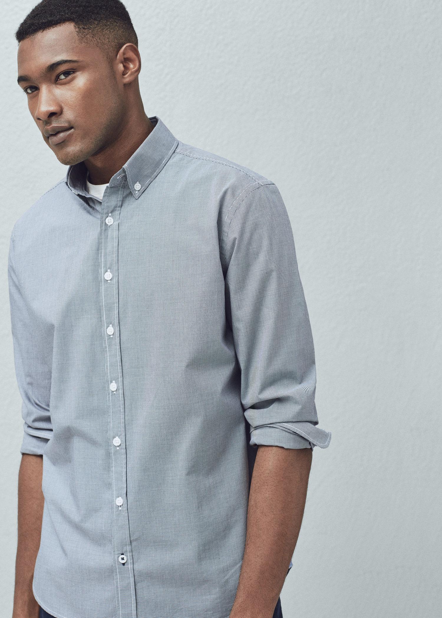 Lyst Mango Slim Fit Gingham Check Shirt In Blue For Men