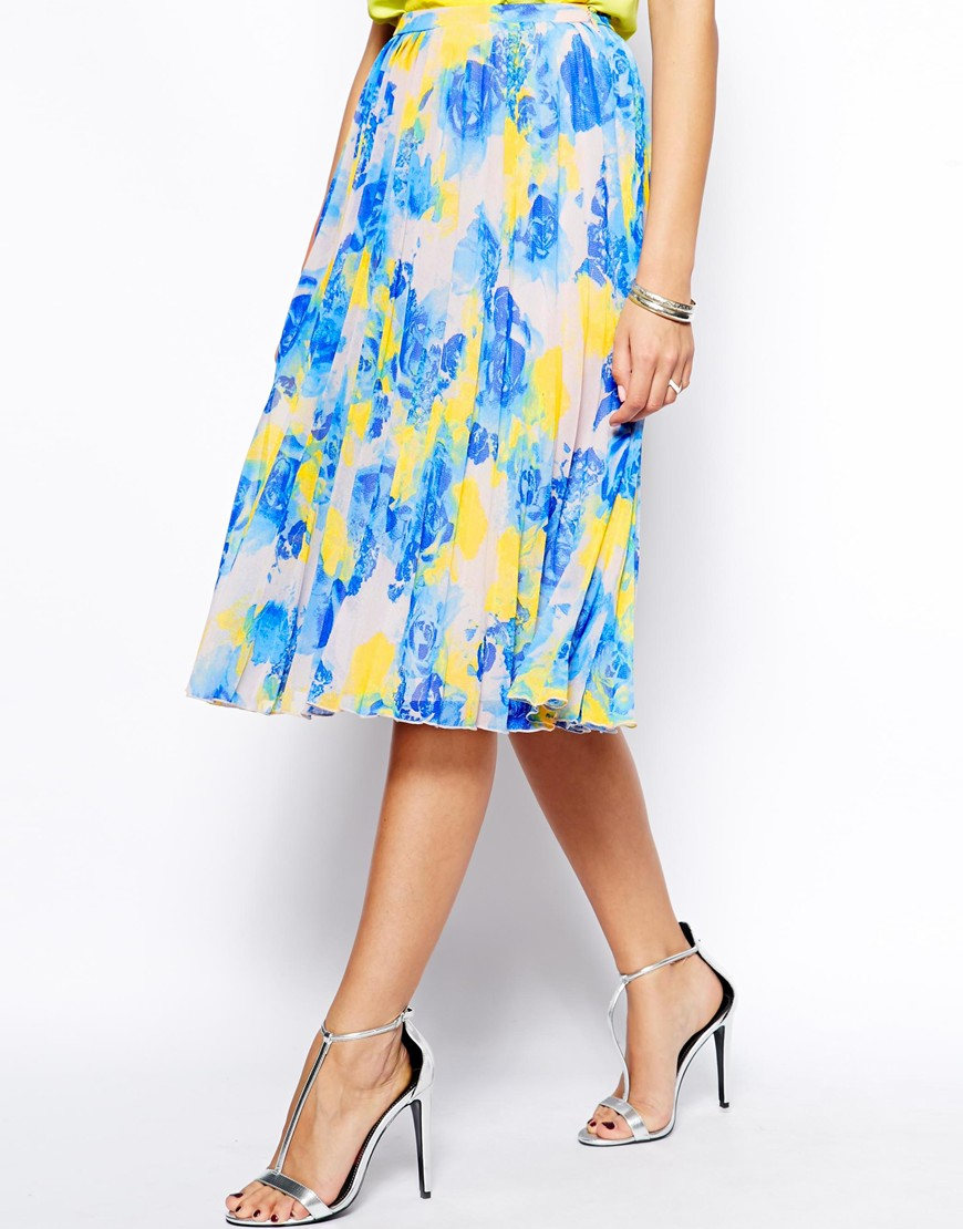 Asos Pleated Midi Skirt In Floral Print in Blue | Lyst