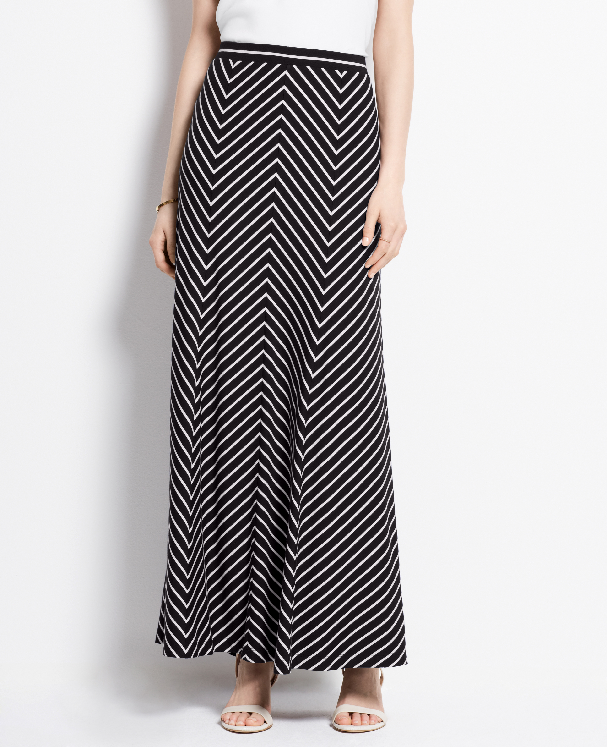 mitered stripe maxi skirt in black lyst