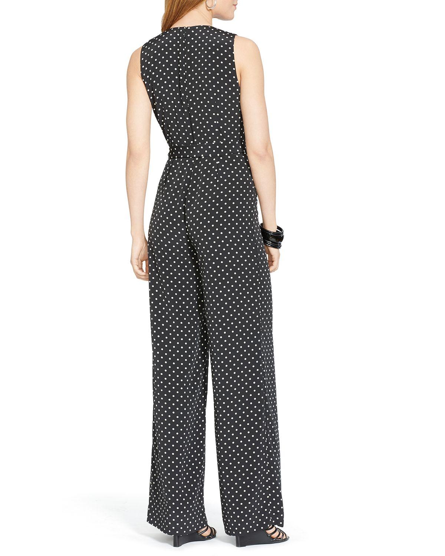 Lyst Ralph Lauren Lauren Belted Polka Dot Jumpsuit In Black